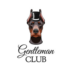 doberman pinscher dog with top hat vector image
