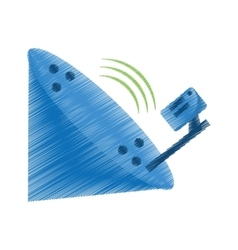 Drawing antenna dish radar technology icon vector