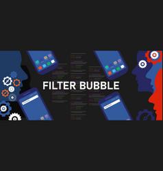Filter bubble smartphone algorithmic social media vector
