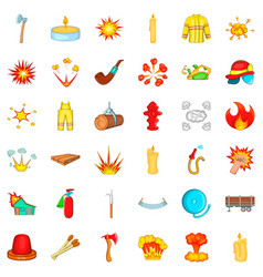 fire icons set cartoon style vector image