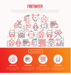 Firefighter concept in half circle vector