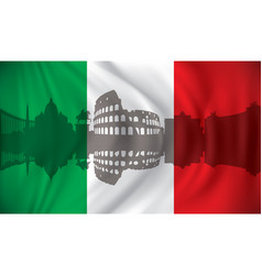 flag of italy with rome skyline vector image