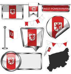 flag west pomeranian poland vector image