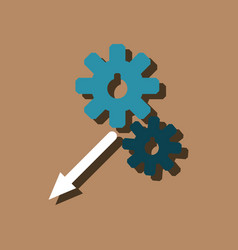 Flat icon design collection two gears in sticker vector