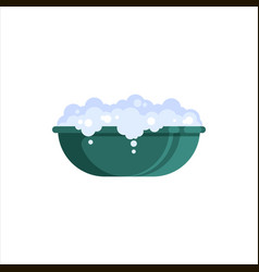 flat plastic basin with soap foam isolated on vector image
