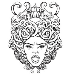 Gorgone with baroque frame made in hand drawn vector