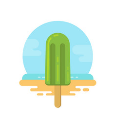 Green popsicle on the beach flat icon vector
