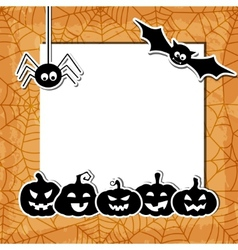 Halloween grunge background with black pumpkins vector