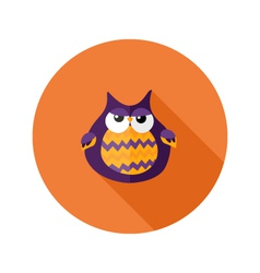 Halloween Owl Flat Icon over Orange vector image