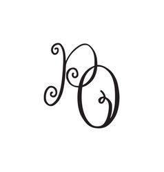 Handwritten monogram po icon vector