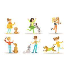 happy boys and girls playing and having fun vector image