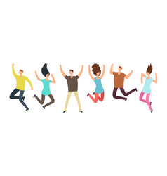 Happy jumping adult friends group of people in vector