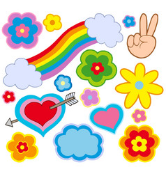 Hippie decorations vector