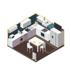 Isometric 3d kitchen interior with household vector