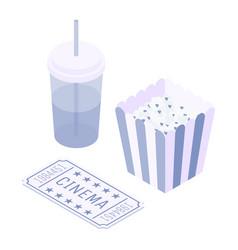 isometric movie theater soda popcorn ticket vector image
