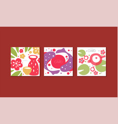 japanese greeting cards collection banner with vector image