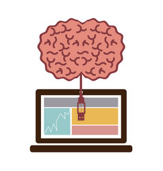 Laptop and usb connected to brain vector