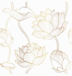 luxury lotus seamless wallpaper design vector image