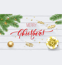 merry christmas golden decoration and calligraphy vector image