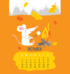 October calendar page with cute rat vector