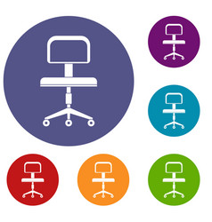 Office a chair with wheels icons set vector