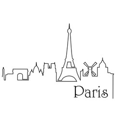 paris city one line drawing background vector image