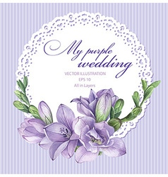 Purple freesia flowers vector