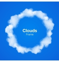 Realistic Clouds Circle Frame on blue sky vector