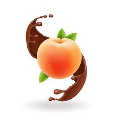 Ripe whole peach in chocolate splash vector