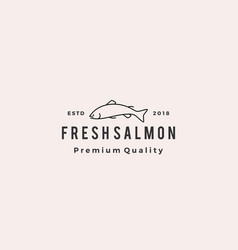 salmon fish logo seafood retro hipster vintage vector image