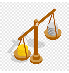 scales with coins isometric icon vector image
