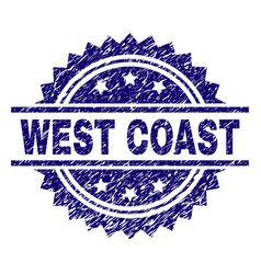 Scratched textured west coast stamp seal vector