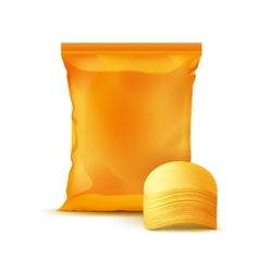Sealed Foil Plastic Bag with Stack of Potato Chips vector