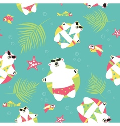seamless background with polar bears vector image