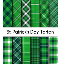 Seamless patterns green st patricks day plaid vector