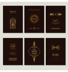 set art deco cards and vintage frames vector image