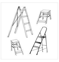 Set drawn stepladders collection hand drawn vector