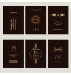 Set of Art Deco Cards and Vintage Frames vector image