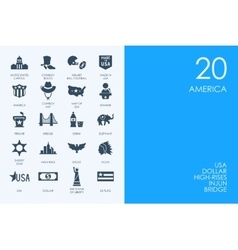 Set of BLUE HAMSTER Library United States icons vector