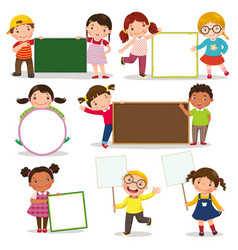 Set of children holding blank signs vector