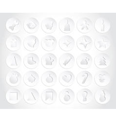 Set of Christmas Icons in paper style Flat Style vector image