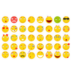 set of emoticons set of emoji flat style vector image