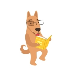 Shepherd dog smiling bookworm zoo character vector