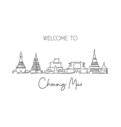 single continuous line drawing chiang mai city vector image