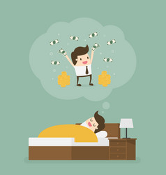 sleeping man dreaming about a lot money vector image