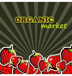 Strawberries organic food concept vector