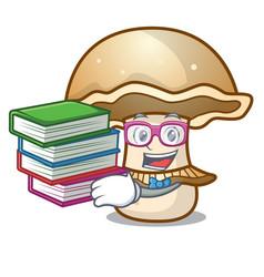 Student with book portobello mushroom mascot vector