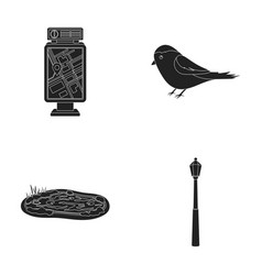 Territory plan bird lake lighting pole park vector