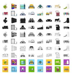 Textile industry cartoon icons in set collection vector