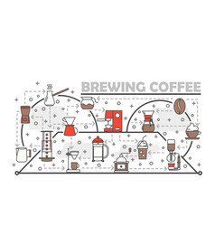 thin line art brewing coffee poster banner vector image